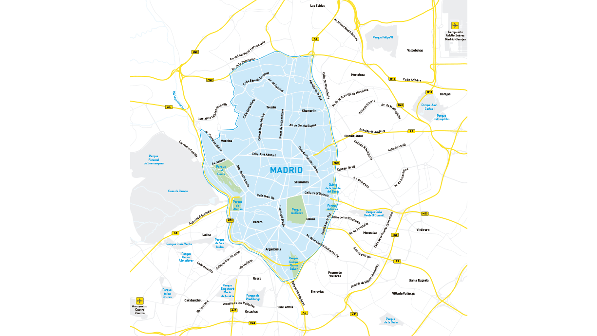 Mapa de Car2go en Madrid